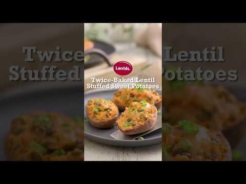 Twice-Baked Lentil Stuffed Sweet Potatoes