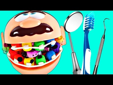 Dr. Drill n Fill Eating Shopkins | Play Doh Rotten Rainbow Teeth visits Dentist Amy Jo