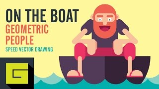 Speed Drawing, How to draw Man on the boat, Adobe Illustrator