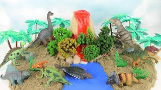 DIY VOLCANO with Lava. Learn Dinosaurs Volcano Science Kit for Kids Mini beach Kinetic Sand 화산놀이