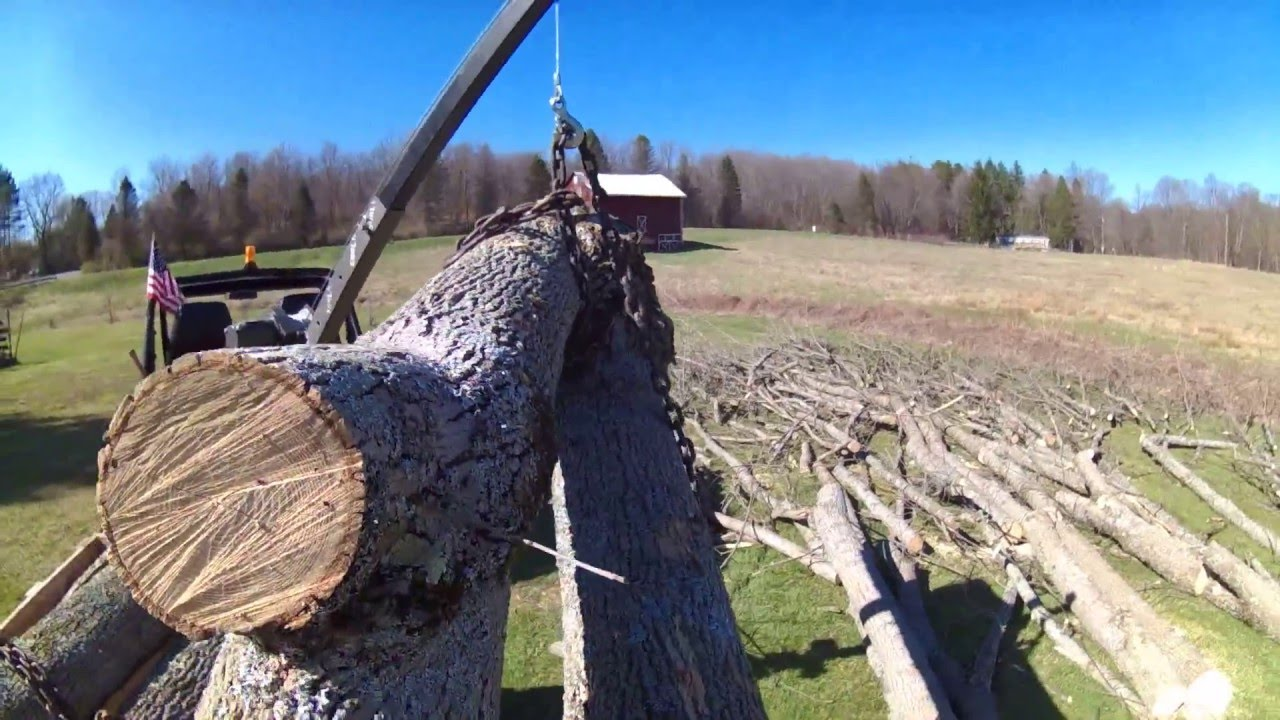 PUSHED BEYOND ITS LIMITS- LOADING MONSTER LOGS WITH HARBOR FREIGHT ATV  WINCH AND PICKUP TRUCK CRANE