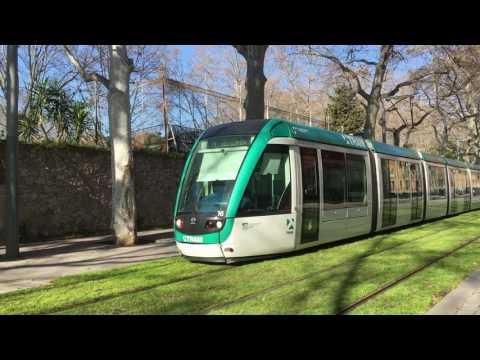 barcelona tram T4 at  Wellington Station, Barcelona, Spain Video 25 2 2017, 10 19 47