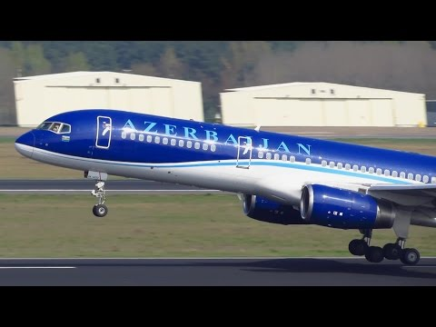CLOSE UP Azerbaijan Airlines Boeing 757-200 [4K-AZ12] Takeoff from Berlin Tegel Airport!