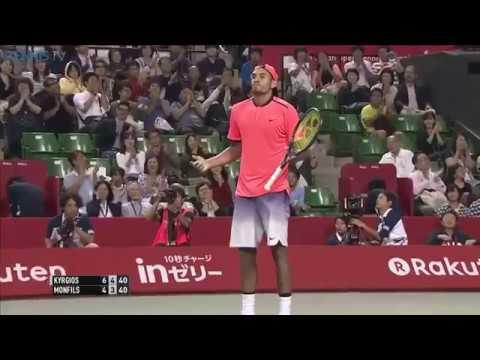 Amazing point between Nick Kyrgios & Gael Monfils in 2016 Tokyo semi-final