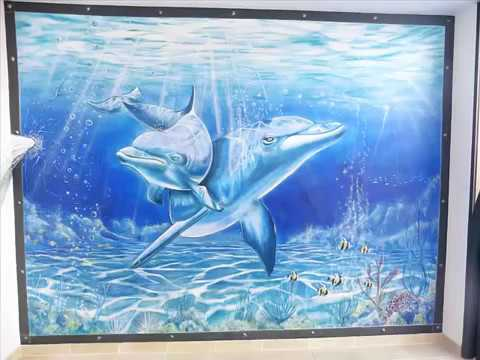 murales pintados pared delfines  YouTube