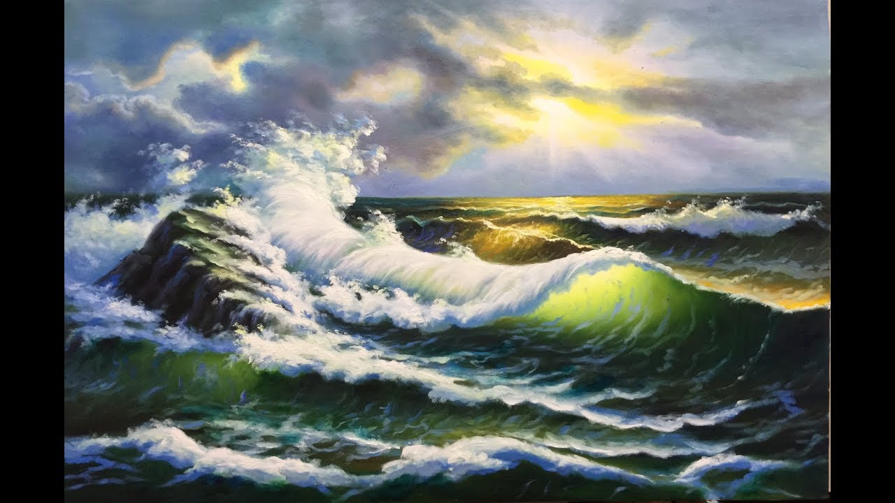 kỹ thuật vẽ sóng biển bình minh_ tranh sơn dầu