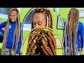 Protective Style | JUMBO TRIANGLE PART INDIVIDUAL BRAIDS | No Rubber Bands