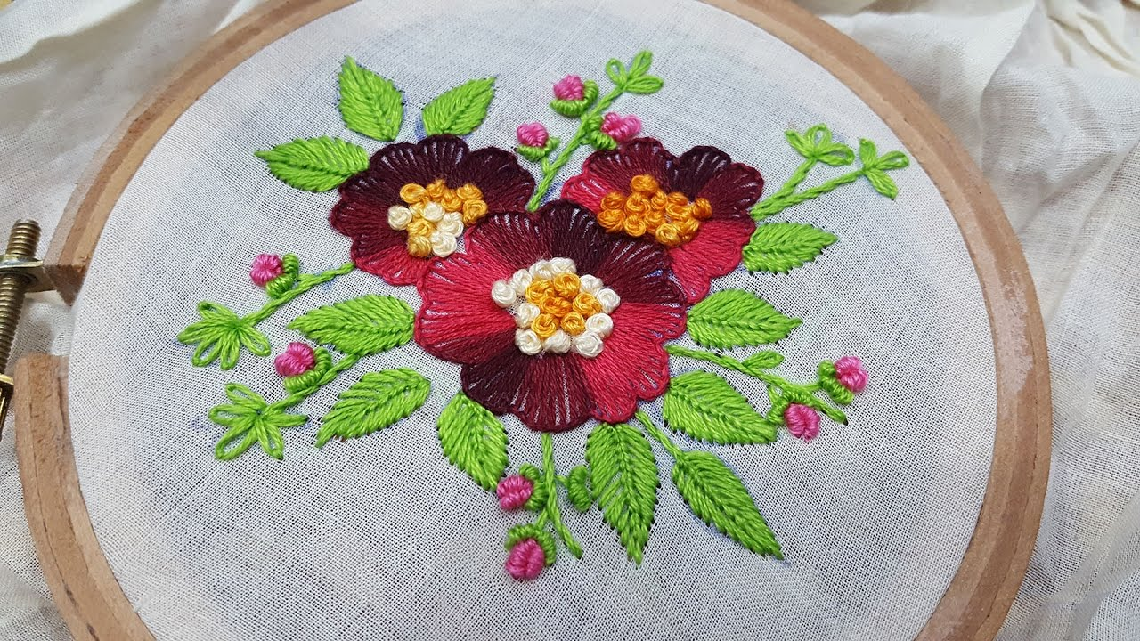 On Hole Sch Flower Hand Embroidery