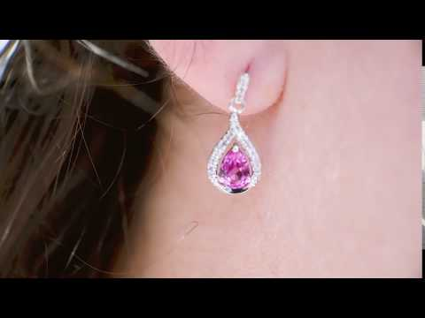 10K WHITE GOLD DIAMOND PINK SAPPHIRE DANGLE EARRINGS