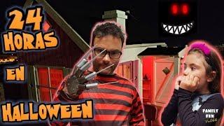 24 HORAS en HALLOWEEN dentro de la casita de madera 🎃 Family Fun Vlogs