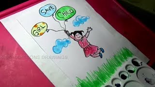 How to Draw Save Girl Child Drawing