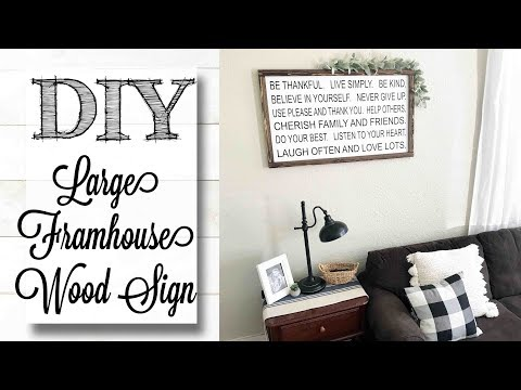 DIY Large Farmhouse Framed Wood Sign