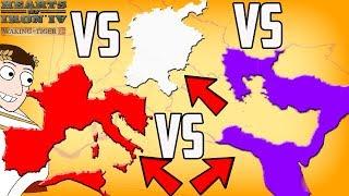 Western v Eastern v Holy Roman Empire Battle Royale! Hearts of Iron 4 HOI4 Mod Gameplay