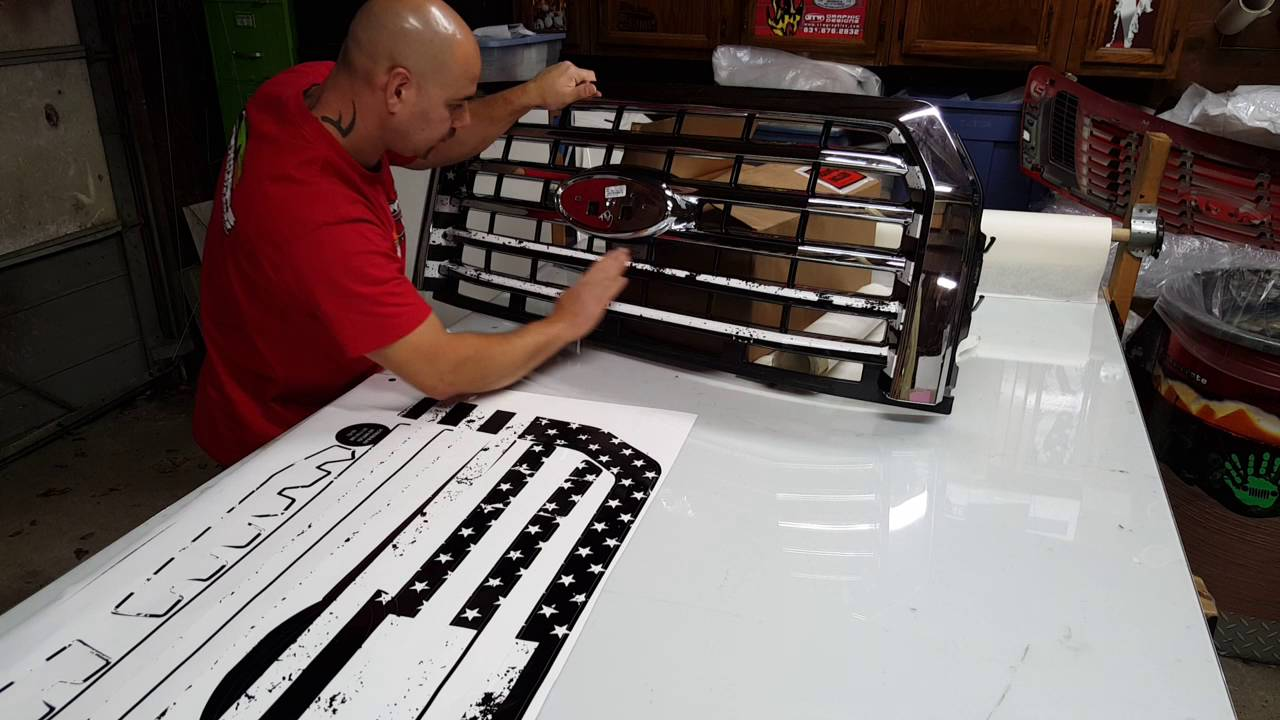 2016 Ford F350 >> Ford F150 Grill Skin Wrap Installation - YouTube