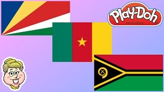 Play-Doh Flags! Seychelles, Cameroon, and Vanuatu! EWMJ #356