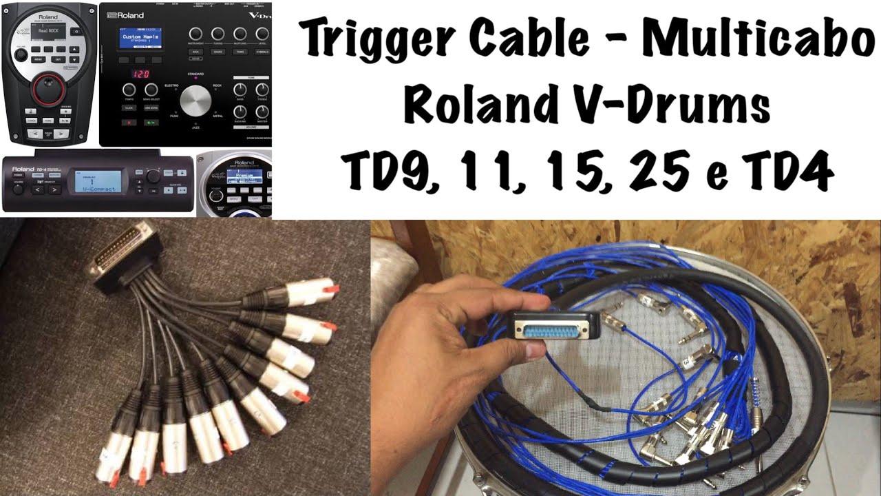 Trigger Cable Roland V-drums   Multicabo   Td9 Td11 Td15 Td25    Td4