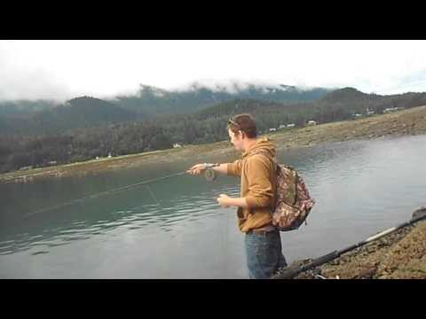 Fly Fishing for Pink Salmon in Juneau, Alaska.