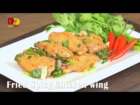 Fried Spicy Chicken Wing | Thai Food | Larb Peek Gai | ลาบปีกไก่ทอด - วันที่ 09 Dec 2017