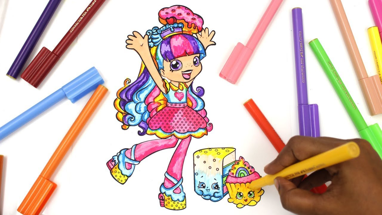 shopkin coloring pages shoppies coloring rainbow kate youtube