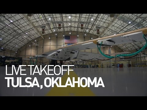 LEG 12 LIVE: Solar Impulse Airplane - Takeoff from Tulsa