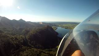 Final glide and landing at Ohlstadt (Pömetsried)