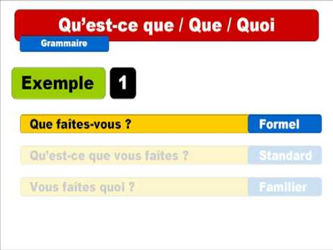 French lesson : Qu'est-ce que / Que / Quoi