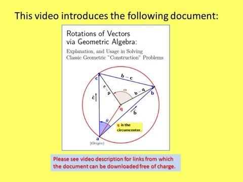 "Solving Geometry ""Construction"" Problems via Vector Rotations in Geometric Algebra"