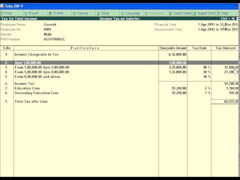 How to calculate income tax on salary payments in Tally ERP 9