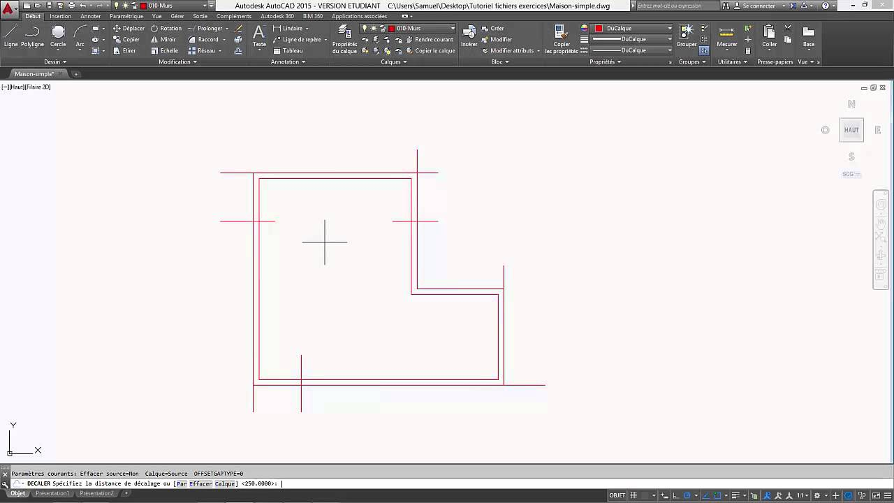autocad 2015 tutoriel fran ais 05 dessiner un plan de maison simple youtube. Black Bedroom Furniture Sets. Home Design Ideas