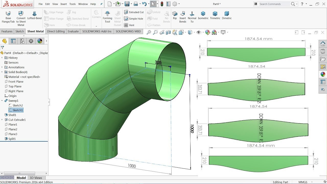 solidworks sheet metal tutorial | calculate flat form of elbow in solidworks