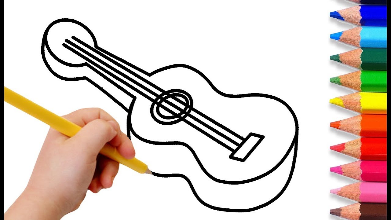 Cara Menggambar Dan Mewarnai Gitar 🎸 Mewarnai Gambar Alat
