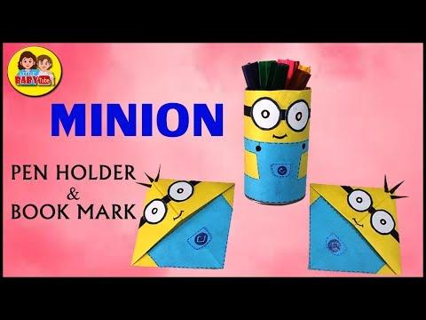 Minion Paper Craft , Minion Pen Holder Stand , Minion Book Mark