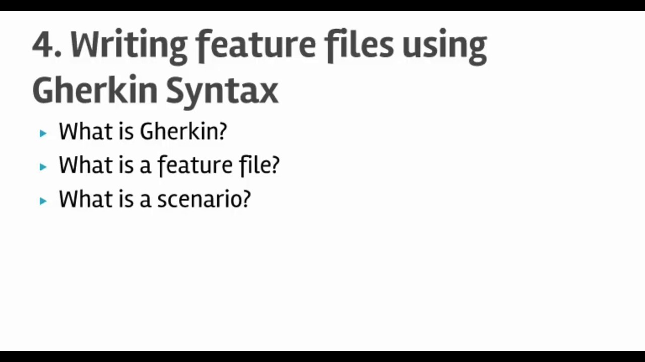 Lecture 4 : Writing Cucumber feature files using Gherkin Syntax
