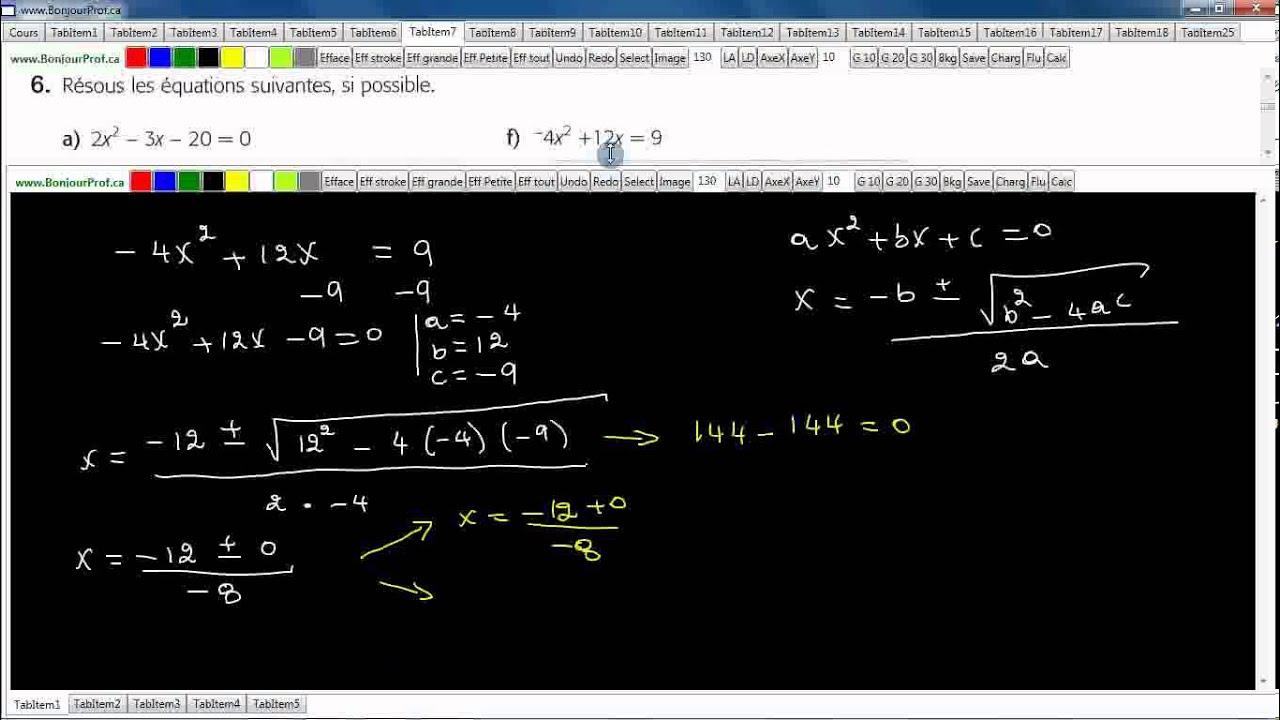 Secondaire 4 SN Québec: Résolution d'une équation de ...