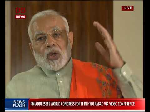 PM addresses World Congress on IT in Hyderabad via video conferencing