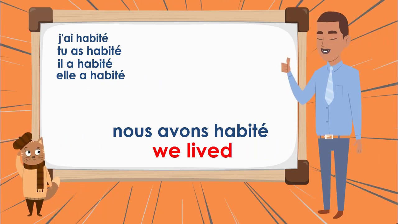 Le Verbe Habiter Au Passe Compose To Live Compound Tense French Conjugation Youtube