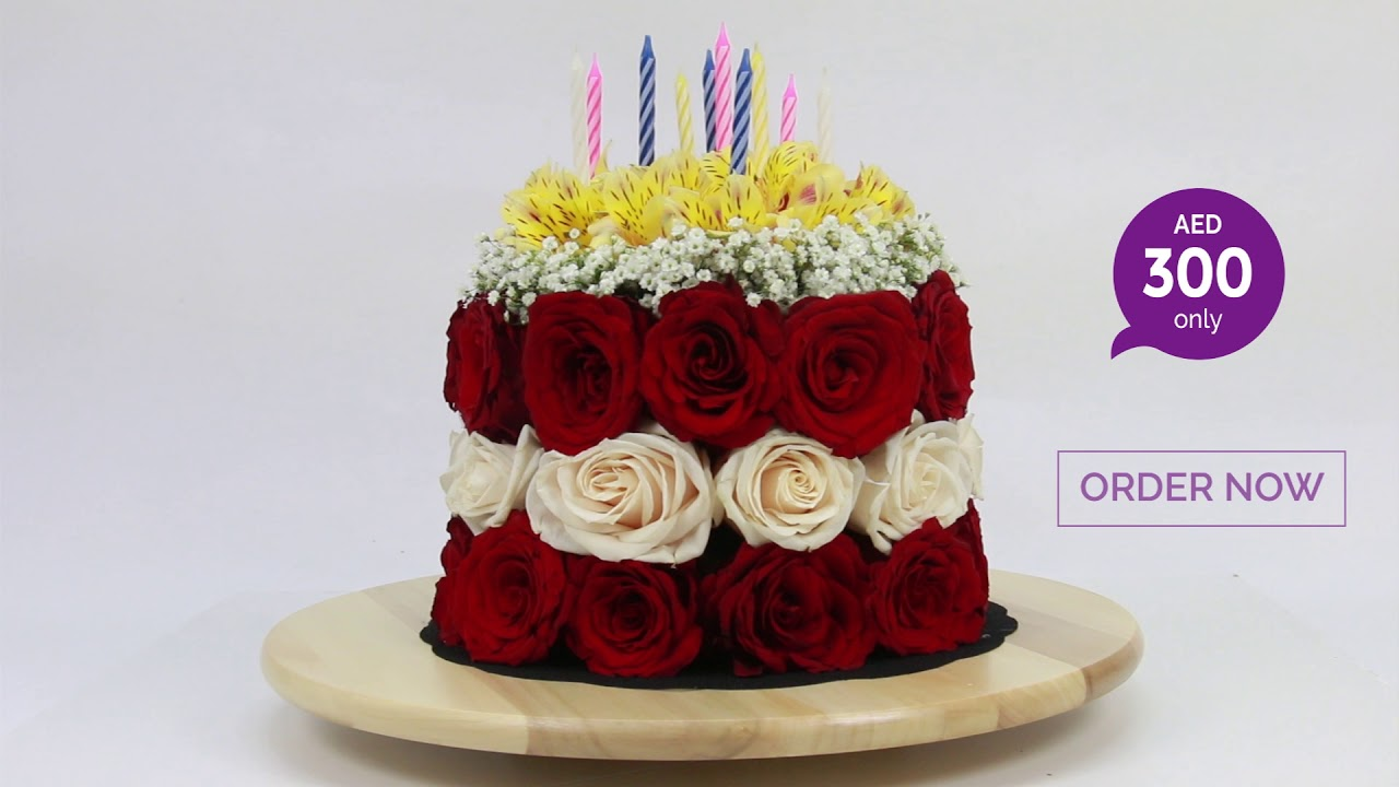 Introducing Birthday Flower Cake By June Flowers Dubai Youtube