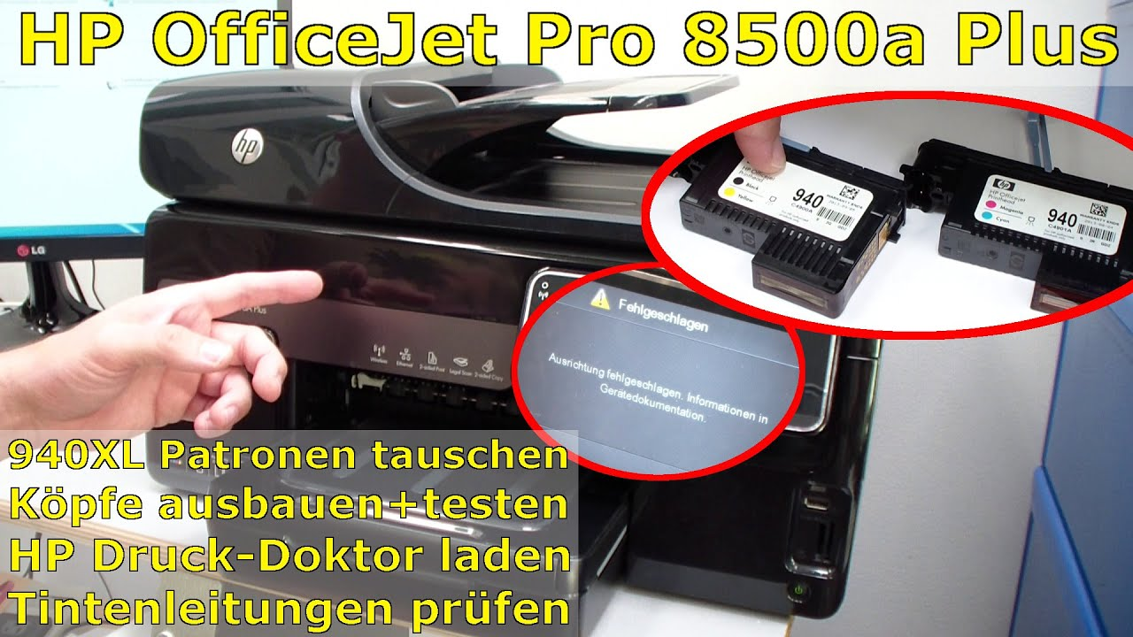 hp officejet pro 8000 8500a plus druckprobleme druckkopf und patronen youtube. Black Bedroom Furniture Sets. Home Design Ideas