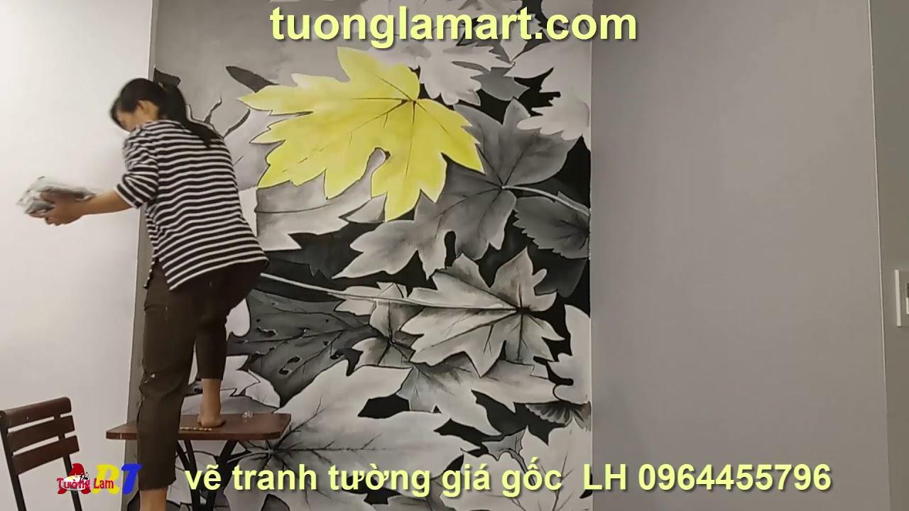 Vẽ tranh tường phòng ngủ họa tiết hoa lá đen trắng 3d LH 0964455796