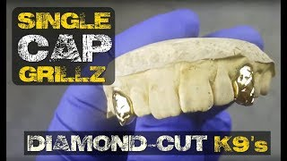 Custom Single Cap Grillz Set Two Canine K9 Teeth Single Tooth Gold Grills