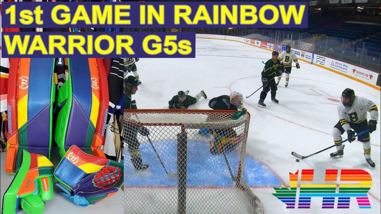 1st game in Warrior Ritual G5 rainbow goalie pads. Stars hockey goalie  GoPro - YouTube