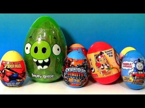 30 Surprise Easter Eggs Kinder Peppa HelloKitty Giant AngryB