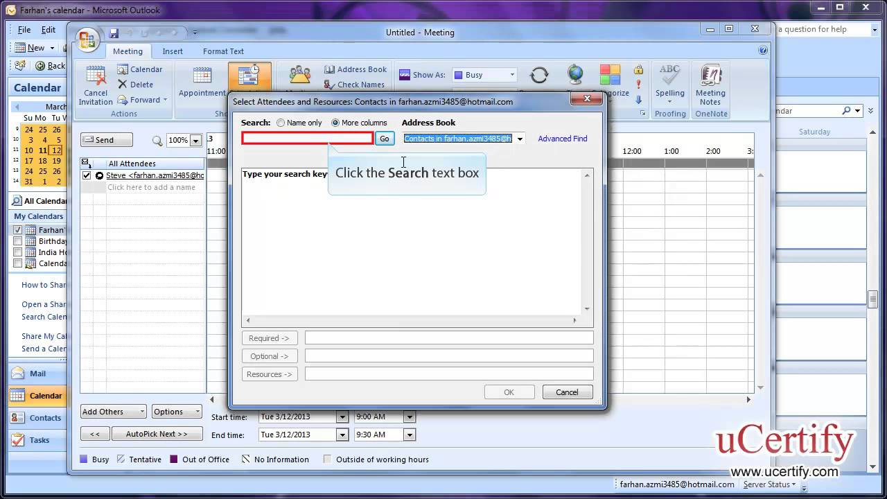 Ms Outlook 2007 How To Create Private Appointment And Schedule Meeting Resources Demo