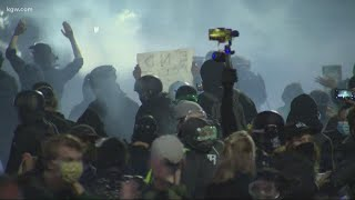 Portland police declare demonstration outside union headquarters a riot