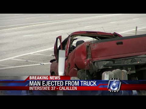Man hospitalized after ejected from vehicle during IH-37 crash