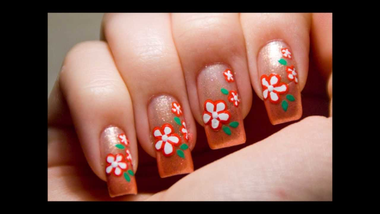 Super easy cute peach flower nail art design tutorial ...