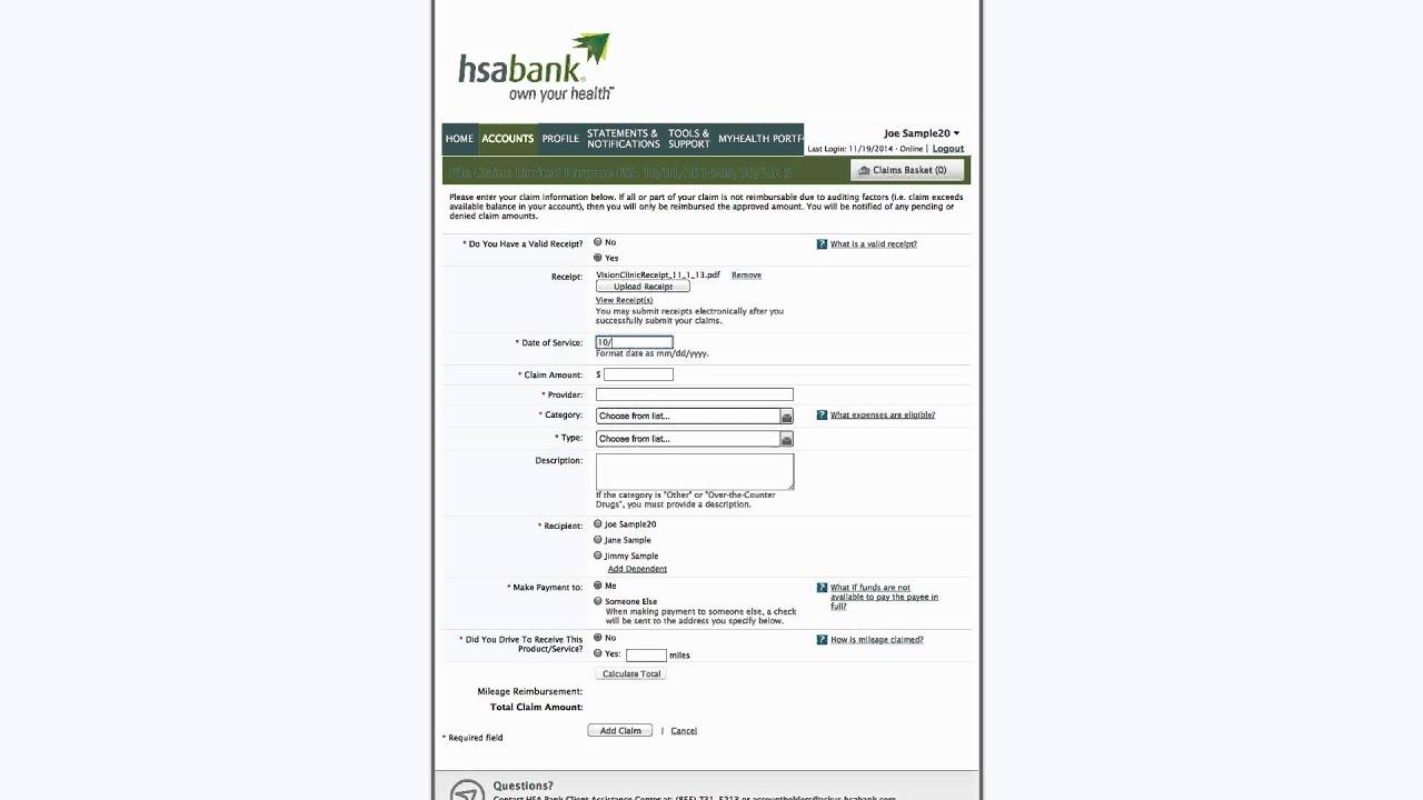 HSA Bank Member Website Online Claim Filing