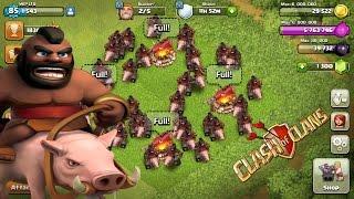 clash of clans hog rider attack+hog rider attack strategy th8 2016!!!