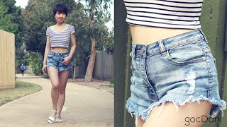 lookbook cropped top and high waisted denim shorts   extra petite under 5