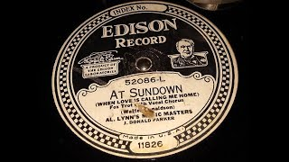 """At Sundown"" by Al. Lynn's Music Masters (Edison Disc)"